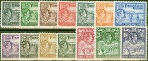 Turks & Caicos Is 1938-45 set of 14 SG194-205 Fine Mtd Mint 5s MNH