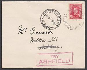 AUSTRALIA 1948 cover to Ashbury - boxed TRY / ASHFIELD.....................55122