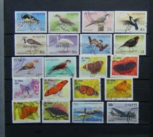 St Kitts 1980 Officials Birds values to $5 1997 Butterflies values to $5 Used