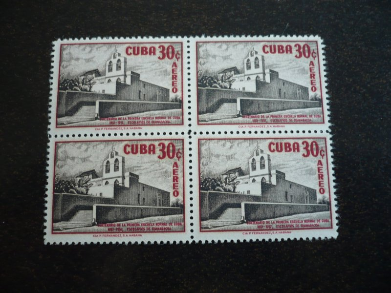 Stamps - Cuba - Scott# 583,C173-C174- Mint Hinged Set of 3 Stamps in Blocks of 4