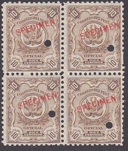 PERU 1909 OFFICIAL 10c optd SPECIMEN in red + security punch hole blk 4.....7907