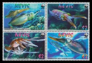 Nevis WWF Caribbean Reef Squid 4v in block 2*2 SG#2155-2158 SC#2380-2383