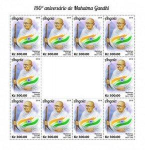 Angola - 2019 Mahatma Gandhi Anniversary - 10 Stamp Sheet - ANG190205c