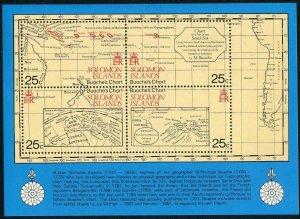 Solomon Isls 443 sheet,MNH.Michel Bl.8. Francisco Antonio Maurelle,1981.Map.