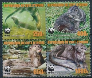 Ivory Coast MNH Block 375 Speckle-throated Otters WWF 2005