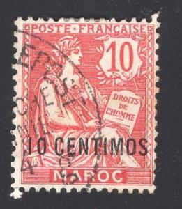 French Morocco   #16  1902  used 10c on 10c  surcharge