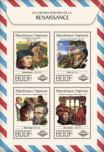TOGO - 2017 - Great Painters of Renaissance- Perf 4v Sheet - MNH