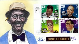 Pugh Designed/Painted Bing Crosby Plate Block FDC...22 of ONLY 24 created!