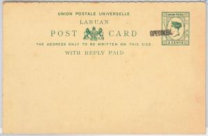 LABUAN -  POSTAL STATIONERY CARD: Higgings & Gage # 4 - SPECIMEN  hand overprint