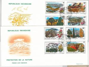 RWANDA - POSTAL HISTORY Scott # 685/92 on FDC COVERS 1975  NATURE plants FLOWERS
