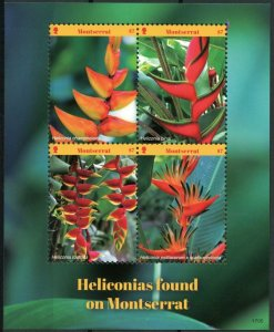 Montserrat 2017 MNH Heliconias Heliconia 4v M/S Plants Flowers Nature Stamps