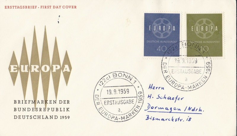 EU7) Germany 1959 Europa Stamps On First Day Cover