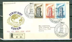 LUXEMBOURG SCARCE  1956 EUROPA #318-320 SET on REGISTERED FDC  to US