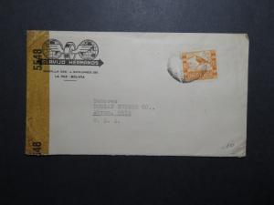 Bolivia 1940s Censor Cover to USA - Z12030a