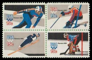 US #1795/1798b Block 60c(4x15c)Winter Olympics, 1979, MNH, (PCB-1)