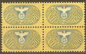 Stamp Germany Revenue Block WWII Fascism War War Medical Invalid VII 420 MNG