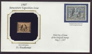 US Pocahontas Jamestown Gold Foil Cover BIN