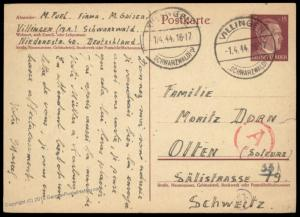 Germany 1944 French Swiss Forced Labor M Gaiser Villingen Camp Cover 89459