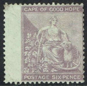 CAPE OF GOOD HOPE 1864 HOPE SEATED 6D WMK CROWN CC WITH FRAMELINE