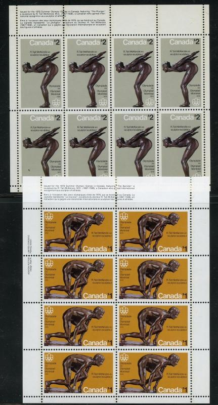 CANADA MONTREAL OLYMPICS 1976 SET OF 2 SHEETS OF EIGHT $1 AND $2 VALLUES MINT NH