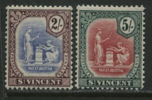 St. Vincent 1921 2/ and 5/ mint o.g. hinged