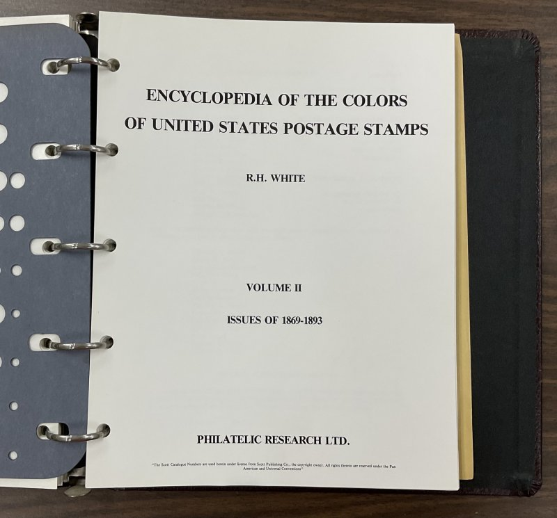 Encyclopedia of the Colors of United States Postage Stamps by R. H. White 4 vols