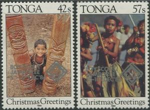 Tonga 1986 SG960-961 Scout Jamboree Tongatapu overprints set MNH