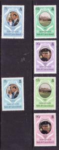 Turks & Caicos-Sc#486-8-two unused NH sets-Royal Wedding-Perfs 12 & 14-Princess
