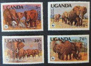 uganda 1984 WWF african elephants 4 values mnh animals mammals