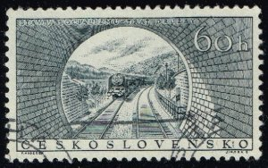 Czechoslovakia #729 Train Approaching Tunnel; CTO (4Stars)