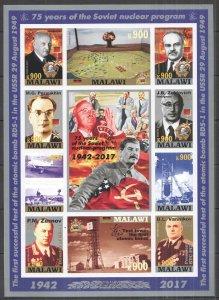 H1495 IMPERF 2017 MALAWI 75 YEARS SOVIET NUCLEAR PROGRAM STALIN RARE FULL SH MNH