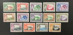 DOMINICA #97-110, 1938-47 set of 14, KGVI, FVF, MH. CV $80.00. (BJS)