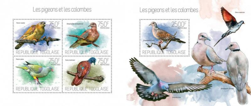 Pigeons Doves Tauben Birds Vögel Animals Fauna Togo MNH stamp set