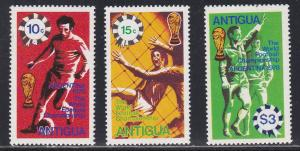 Antigua # 515-517, World Cup Soccer, NH 1/2 Cat.