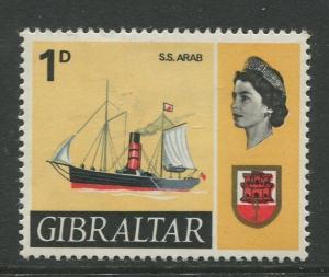 Gibraltar - Scott 187 - QEII Definitive Issue -1967- MH - Single 1d Stamp