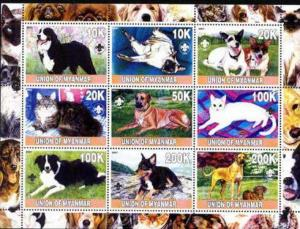 Cats & Dogs on Stamps - 9 Stamp  Sheet  - 5510