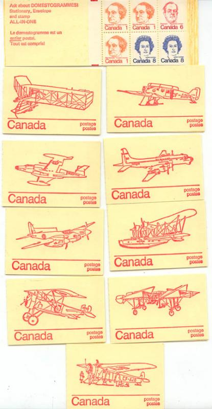 Canada - USC #BK74a 1974 25c Caricature Booklets Set of 10 Diff. Covers