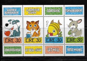 IRELAND, 1164A, MNH, BOOKLET PANE, GREETING CARDS