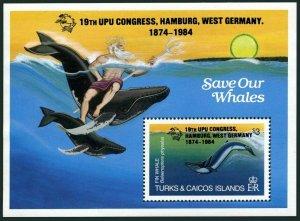 Turks & Caicos 639,MNH.Michel 701 Bl.50. 19th UPU Congress,Save Our Whale,1984.