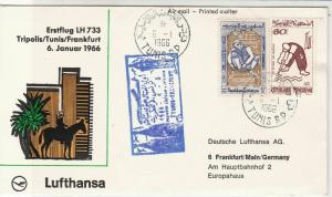 Rep. Tunisia 1966 1st Flight LH733 Tripoli-Tunis-Frankfurt Stamps Cover Rf 29367