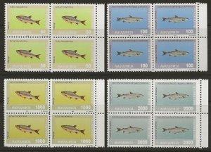 Macedonia 1993 Fish BLOCK Set #8-11 VF-NH CV $43.20