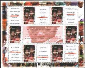 Vatican. 2044. Small sheet 1488. Medicine, the fight against AIDS. MNH.