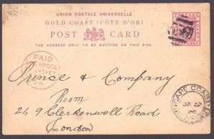 GOLD COAST 1898 1d postcard commercially used to UK - CAPE COAST cds........6001