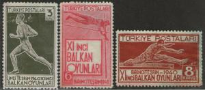 TURKEY MNG or Used Scott # 855-857 Balkan Olympics - faults (3 Stamps) -2