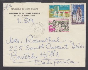 Ivory Coast Sc 234,245,249 on 1966 Air Mail cover, ABIDJAN HEIGHTS to US, F-VF