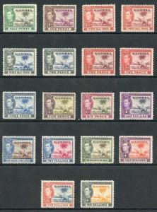 Gambia SG150/61 1938-46 KGVI Set of 16 Wmk Mult Script CA Mixture U/M and M/M