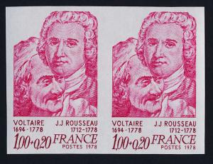 France B509 imperf pair MNH Voltaire & Rousseau