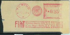 90526 - REGNO - STORIA POSTALE: Annullo ROSSO MECCANICO 1931 -  FIAT  Torino