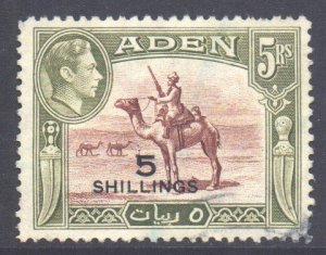 Aden Scott 45 - SG45, 1951 New Currency 5/- used