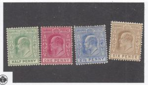 BAHAMAS # 44-47 VF-MH KING EDWARD VII GRN /CAR ROSE/ULTRA/BISTER BROWN  CAT $101